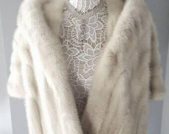 Luxury Vintage EMBA White Mink Stole - Authentic AZURENE Ivory Mink Fur Stole - Cape - Fur Wrap - Fur Shawl - Bolero -  Shrug - Bridal Fur