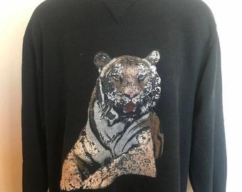 80s Tiger Russell Athletic Sweatshirt Vintage Crewneck Shirt Wild Animal Leopard Cheeta Zoo Safari Jungle Cartoon Gym Sport Black USA Large