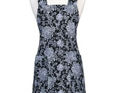 Japanese Crossback Apron Canvas Black White Gray Retro Floral Damask - Womens Vintage Crossover Pinafore Kitchen Apron with Pockets