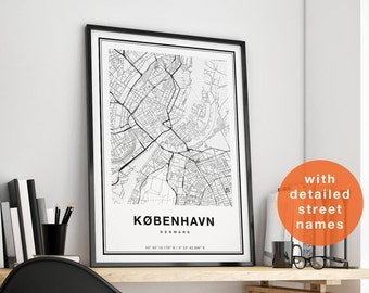 Copenhagen Map with GPS Coordinates, Copenhagen City Map, Copenhagen Street Map Art, Copenhagen Map Print Kobenhavn Map Of Copenhagen Poster