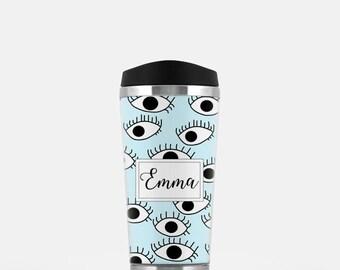 EyesTravel Mug, Personalized Coffee Mug, Eyes Travel Tumbler, Blue Travel Mug, Eyes Print, Stainless Steel Mug, To Go Coffee Cup, 16 oz