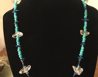 "Handmade 20"" silver plated Live Laugh Love necklace with Ice quartz and various blues glass beads"