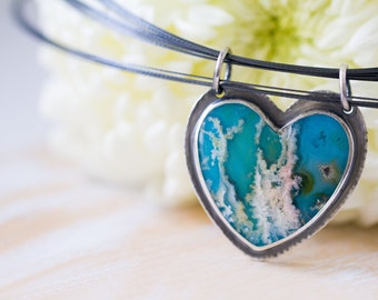 Turquoise Necklace, Regency Rose Plume Agate Necklace, Heart Necklace, Statement Necklace - Forests of the Heart