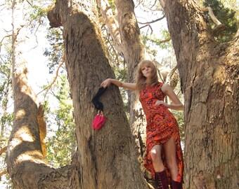 Vtg 60s Psychedelic Paisley Maxi Dress S