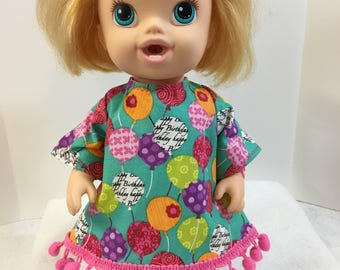 "BABY ALIVE 12 inch Doll Clothes, ""BIRTHDAY Balloons"" Dress - Happy Birthday Baby Alive! 12"" Doll Clothes, Baby Alive Clothes, Birthday Fun!"