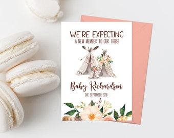 Bohemian Pregnancy Announcement Printable Pregnancy Reveal We're Expecting Announcement Tribal Teepee Baby Announcement Coral Floral 210