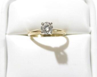 Estate .50ct  Diamond Solitaire 14k Yellow Gold Engagement Ring / Wedding Ring