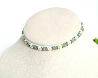 """Purple Seed Bead Daisy Choker, Kawaii Flower Choker, Handmade Jewelry, Beaded Boho Necklace, 12"""" to 15"""""""
