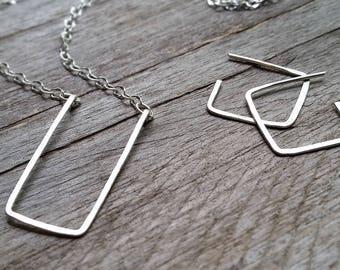 Minimalist SQUARE RECTANGLE HAMMERED Set—Sterling Silver Simple Geometric Earrings & Necklace Pendant [Géométrique Argent—Cuadrado Plata]