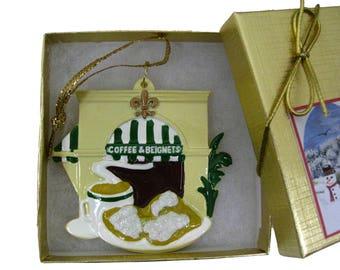 New Orleans Coffee and Beignets Christmas Ornament w Gift Box/bow/Tag Christmas Decoration Cafe de du Monde french quarter favor decor Xm