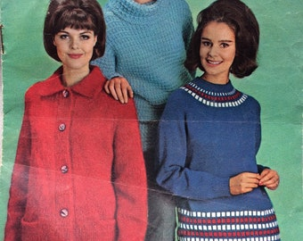 vintage knitting pattern 1960's Woman Magazine booklet family patterns