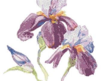 watercolor flower iris Cross Stitch Pattern Watercolor pattern needlepoint needlecraft -145x191 stitches- INSTANT Download - B1512