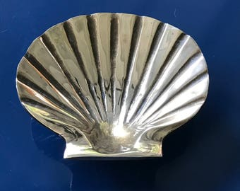 Brass Shell Dish Lions Paw Scallop Polished Solid Brass Mid Century Decor Coastal Home Beach House