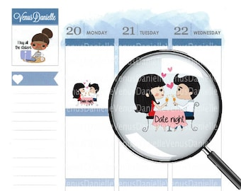 Date Night Planner Stickers, Couple stickers, Love Stickers, Date Stickers, Date Night, Love Stickers, Functional Stickers