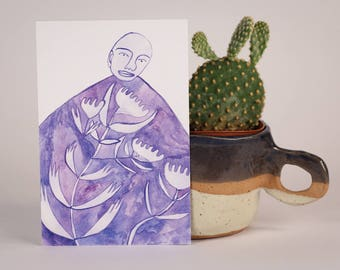 Purple Garden Dress-Postcard
