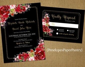romantic black wedding invitationred rosesgold printshimmeryelegantprinted - Black And Red Wedding Invitations