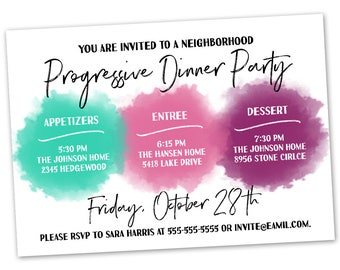 Progressive dinner etsy progressive dinner party invitation announcement card digital customized custom neighborhood block party house gathering watercolor stopboris Image collections