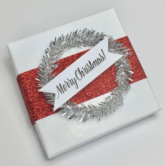 Christmas Party Favor Box - Party Favor Box - Merry Christmas Box - Merry Christmas Packaging - Box - DIY - Kit - Favor Kit - Red Ribbon