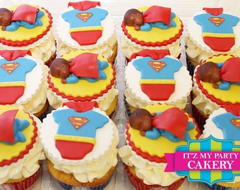 Superman Cupcake Toppers - 1 Dozen