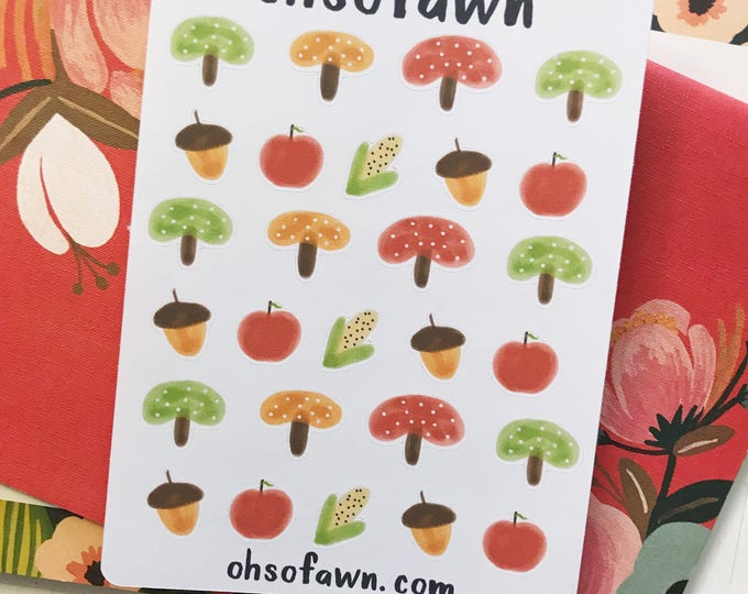 Hand Drawn Fall Mushroom and Acorn Stickers