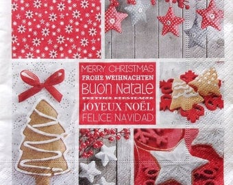 Set of 2 pcs 3-ply ''Merry Christmas'' paper napkins for Decoupage or collectibles 33x33cm, Holiday napkins, Christmas napkins, Servetten