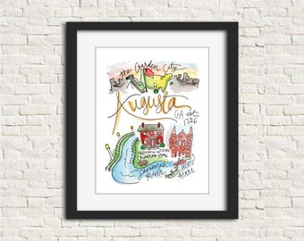 Augusta, Georgia Handlettered Watercolor 8x10 in. or 11x14 in. Wall Art Print