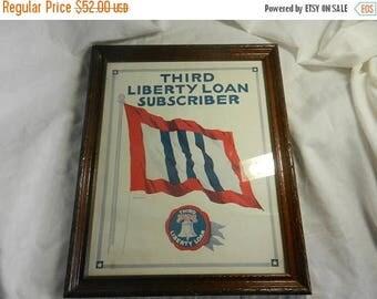 Summer Sale Vintage WW2 Framed Third Liberty Loan Subscriber Window Poster