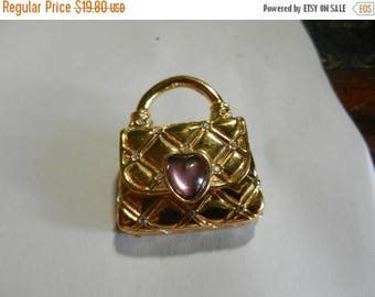 Summer Sale Vintage Signed Costume  Jewelry Purse Brooch Pin