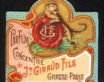 25% SALE Original Vintage French Perfume Bottle Label Tiger J. Giraud Fils Grasse Paris 1900s