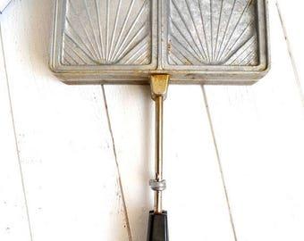 25% SALE Vintage French Kitchen Metal Reversible Stove Top Waffle Iron Maker/Sandwich Toaster Croque Monsieur Panini Press Sefama