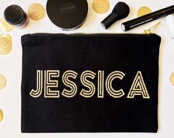 Cosmetic Bag - Personalized Make Up Bag - Bridesmaid Bag - Flower Girl Bag - Canvas Bag - Bridal Party Gifts - Make Up