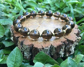 Dorothy Bracelet- Smoky Quartz(10mm) - Smoky Quartz Bracelet - Quartz Bracelet - Grey and Gold - Oliver Grey Jewelry - Gemstone Jewelry