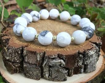 Dorothy Bracelet-Natural White(10mm) Bracelet - White and Grey- Earthy Beaded Bracelet - White and Gold Bracelet - Oliver Grey Jewelry