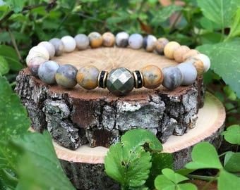 Men's Jeremy Bracelet- Crazy Agate(8mm) - Pyrite - beaded bracelet-oliver grey jewelry- Denver collection-  guys accessories