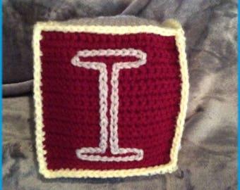 Letter I Soft Block, Hand Crocheted