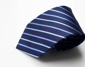 Men's Blue Stripe Pattern Neck Tie, Men's Neck Tie, Mens Pattern Tie