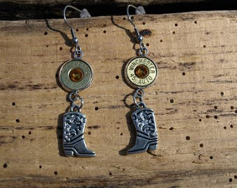 Handmade Bullet Earrings with Cowboy Boot Charms and 45 Auto Bullets. Optional Crystals Es680