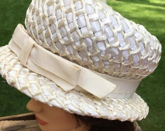 Vintage Straw Ladies Hat with Ribbon Formal Party Sunday Hat