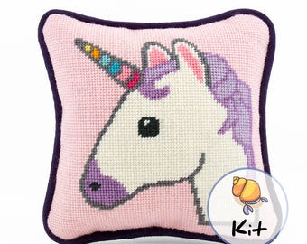 Mini Emoji Needlepoint Unicorn Pillow Kit, Modern Tapestry diy, Beginner Needlepoint kits, Unicorn Canvas, Fun Small Needlepoint, 8x8 design