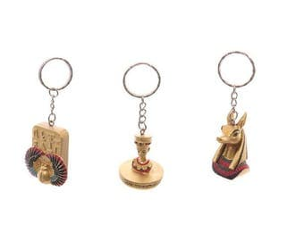 Egyptian key pendant, Nefertiti, Anubis, Scarab, Egypt, handbemalt