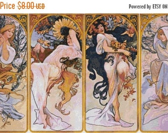 "Four season Counted Cross Stitch Mucha Pattern chart pdf file  modern cross stitch Four season pattern -27.50"" x 14.93""- L1284"
