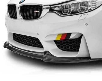 "9"" German Flag Colours Vinyl Decal Kit for Side Skirt or Front Lip, Amazing look on Volkswagen, Audi, Porsche, BMW..."