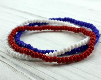 Red White and Blue Bracelet Set - American Flag Stretch Bracelet Set- Patriotic Bracelet - Independence Day Jewelry- 4th July Bracelet