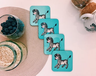 Retro / Vintage Zebra Coasters -  Set of 4 - Handmade - Animal Kitsch Republic