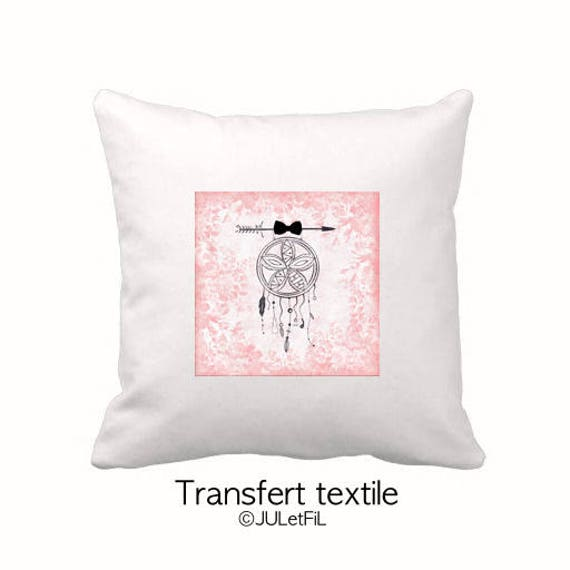Fusible textile transfer dream catcher Dreamcatcher black India ink on pink floral vintage