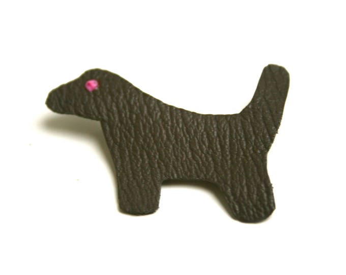 Minimalist leather dog brooch goat without chrome leather taupe