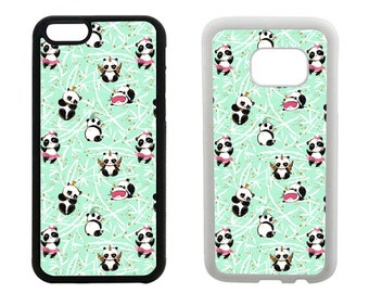 Panda phone case iPhone 6 6S 7 8 Plus X SE 5S 5C 5 4S, Samsung Galaxy S8 Plus S7 S6 Edge, S5 S4, Note 5, floral rubber phone cover. R396