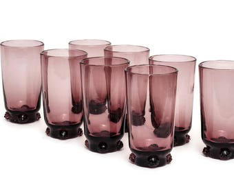 Vintage Blenko Amethyst Rosette Highball Glasses, Set of 8