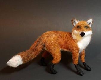 Needle Felted Animal Red Fox Wool Soft Sculpture Handmade Figurine Home Decor Artist Bear Feltie Art Doll Plushie