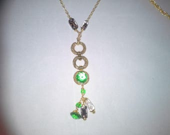 long necklace gold plated and glass cabochon